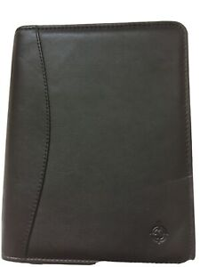 Franklin Covey Black Full Grain Nappa Leather Binder Planner 6 Ring 6 5 x8 x2