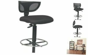 Deluxe Mesh Back Drafting Chair With 18 5 Diameter Adjustable Footring Black