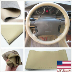 Diy Genuine Leather Auto Car Steering Wheel Cover With Needles And Thread Beige