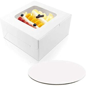 10 X 5 Inches Cake Bakery Boxes With Window And Round Boards Paperboard For 15
