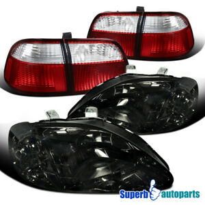For 1999 2000 Honda Civic 4dr Sedan Headlights Smoke tail Lamp Red clear