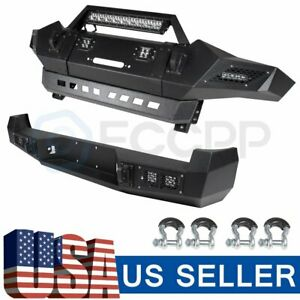 Offroad Steel Front Rear Bumper W Leds D rings Winch For Toyota Tacoma 2005 2015