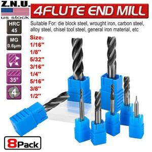 8x set Milling Cutter Drill Bit Tools Solid Carbide End 4 Flute Tialn Coated Us