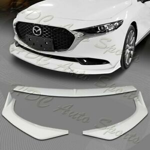 For 2019 2021 Mazda 3 Mazda3 Painted White Front Bumper Body Kit Spoiler Lip 3pc