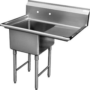 Gsw 1 Compartment Stainless Steel Sink 24 x24 W Right Drainboard Etl Sh24241r