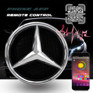 Rgb Car Led Grille Logo Emblem Light For Mercedes Benz App Remote Control Twist