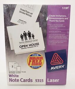 Avery Printable Note Cards Laser Printers 50 Cards And Envelopes 4 25 X 5 5