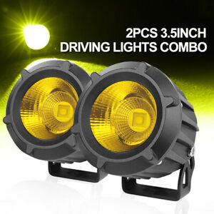 Super Bright 4 Inch Cree Led Fog Lights Spot Flood Amber Bumper Driving Pods Bar