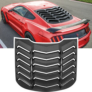 Rear Window Louver Sun Shade Cover Vent For Ford Mustang 2015 2020 Carbon Fiber