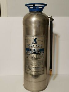 Vintage Fire Extinguisher Collectible Kidde Stainless Steel 1960s empty 23