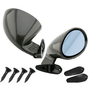 2x Real Carbon Fiber Side Mirrors Rearview Mirrors For Car Suv Truck Universal