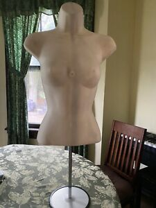 Sandinrayli Female Mannequin Torso Dress Clothing Form Display With Tripod Stand