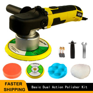 6 Dual Action Orbital Car Polisher Buffer Sander Polishing Machine Wax Pad Kit