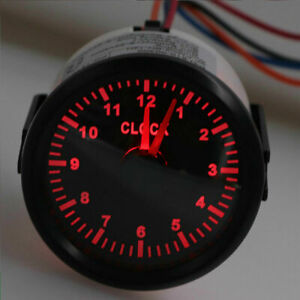 52mm 2inch Clock Gauge12hours For Cars Boat Truck With Red Backlight Waterproof
