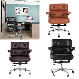 Genuine Leather Executive Chair Aluminium Office Chair Swivel Adjustable