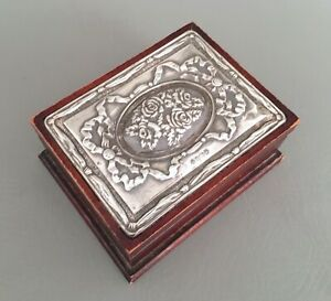 Vintage England Raised Flower Sterling Silver Inlay Wooden Jewelry Box Trinket