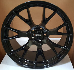 22 Stagger Rims Black Hellcat Style Wheels Tires Fit Dodge Challenger Charger