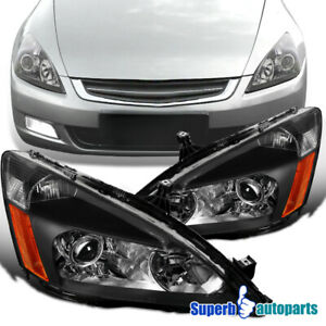 For 2003 2007 Honda Accord Projector Black Headlights Head Lamps Retro Style 2pc