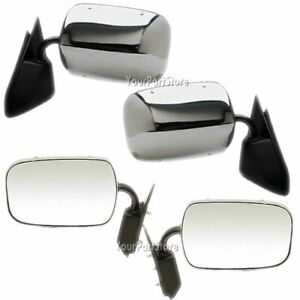 88 98 Chevy Gmc Pickup Pu Truck Chrome Manual Door Mirror Left Right Set Pair