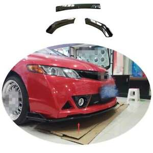For Honda Civic 9th 2012 2013 2015 Black Front Bumper Lip Spoiler Bodykit Refit