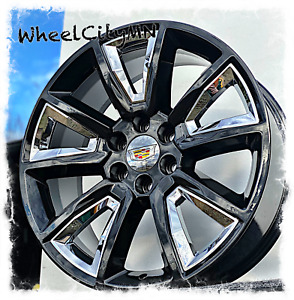 22 Gloss Black Chrome Inserts Chevy Oe Replica 5696 Wheels Cadillac Escalade