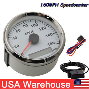 85mm Waterproof White Gps Speedometer 160mph For Cars Truck Motorcycle Usa Stock