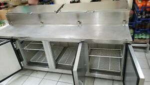Cooler Prep Table Station For Pizza Sandwich 88 Inch 3 Doors