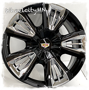 22 Gloss Black Chrome Inserts Cadillac Escalade Esv Oe Replica Rims 6x5 5 24