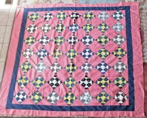 Vintage Machine Pieced Patchwork Quilt Top Churndash 86 X 68 Inches 1880 1890 S