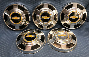 73 87 Chevy 3 4 Ton Dog Dish Hubcaps 12 Set Of 5 Pickup Truck