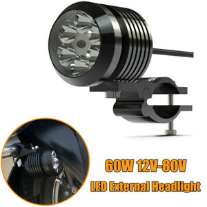 60w Motorcycle Led Headlight Fog Driving Lamp External Auxiliary Light W Bracket