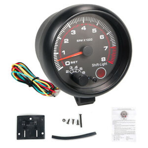 New Inch Car Tachometer Tacho Gauge Meter 0 8000 12v Rpm With Black Background
