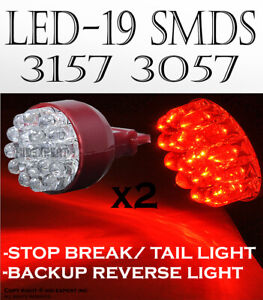 X2 3156 19 Smds Led Super Red Replace Sylvania Brake Tail Light Bulbs Lamp A467