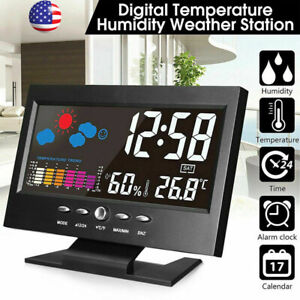 Digital Lcd Indoor Outdoor Clock Weather Station Calendar Humidity Thermometer
