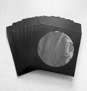 25 Black Color Cd Dvd Paper Sleeve Envelopes New Unused