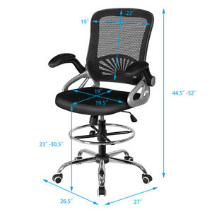 Mesh Drafting Chair Mid Back Office Chair Adjustable Height Flip up Arm Black