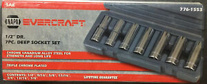 New Factory Sealed Napa Evercraft 1 2 In Dr 7 Pc Deep Socket Set 776 1553
