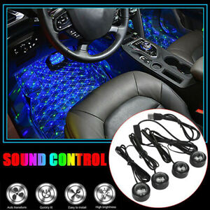 Led Car Interior Atmosphere Neon Lights Strip Music Control Floor Decor Light Us