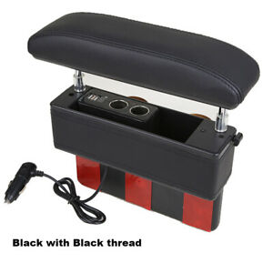 Universal Leather Car Armrest Storage Box Seat Gap Install Elbow Rest Support Pa