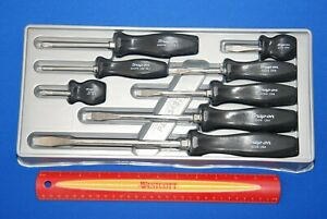 Mint Snap on Vintage Black 8 Piece Hard Grip Combination Screwdriver Set Sddx80
