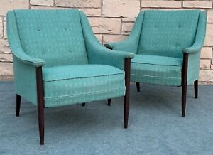 Pair Of Mid Century Danish Modern Lounge Arm Chair In Teal Blue