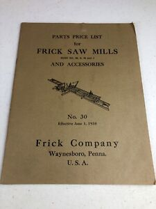 1938 Frick Saw Mills Parts Price List No 30