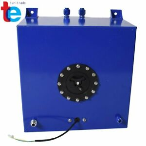 10 Gallon Coated Aluminum Racing drifting Fuel Cell Gas Tank level Sender Blue