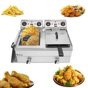 Zokop Upgrade 25qt Electric Stainless Steel Deep Fryer Commercial Xl Fry Basket