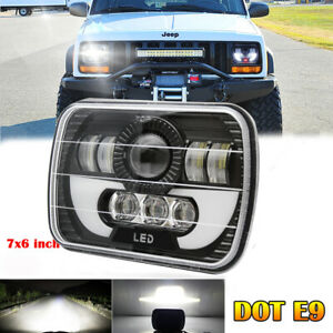 85w Cree 7 X6 Led Headlight Hi Lo Beam Halo Drl Bulb For Jeep Xj H6014 H6054