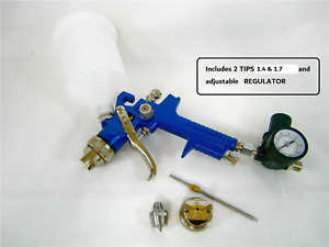 20 Oz Hvlp Gravity Feed Air Spray Gun With Regulator And 2 Tips