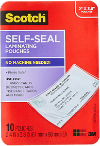Scotch Self sealing Laminating Pouches Business Card Size 2 Inches X 3 5 Inche