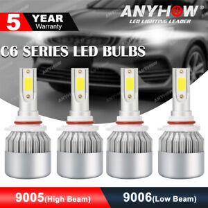 4pcs 9005 9006 Led Combo Headlight Bulbs High Low Beam Kit 240w Cree 6000k White
