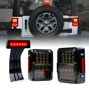 Smoke Lens Led Rear Tail Light 3rd Brake Lights Set For 2007 18 Jeep Wrangler Jk
