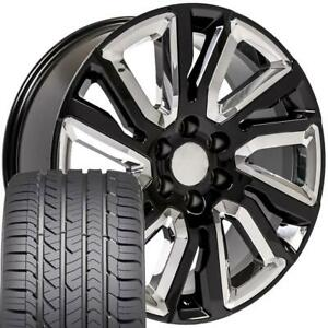 Oew 22x9 Wheels Tires Fit Chevy Gm High Country Black W Chrome Gy